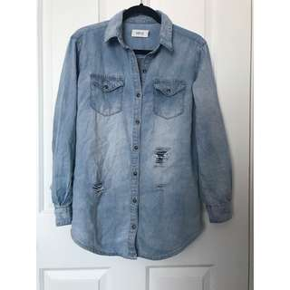 Minkpink Denim Extremely High Quality Ripped Denim Shirt (XXS)