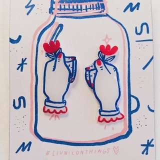 LIUNICONTHINGS / LIUNIC hand-drawn earrings #cute