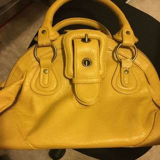Deetour Faux-Leather Yellow Medium Sized Handbag