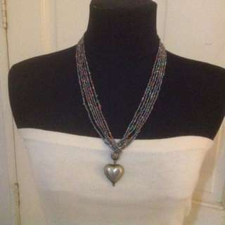 Beads Necklace with heart Pendant