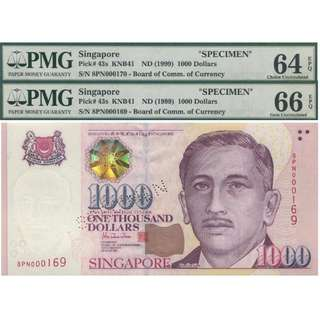 Singapore Portrait Specimen $1,000 Banknote PMG Graded 64, 66 EPQ