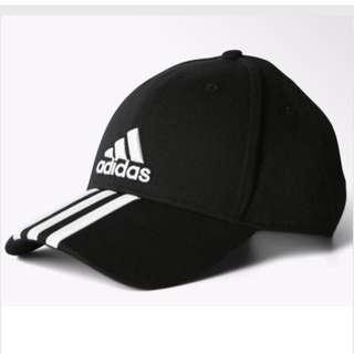 Adidas pref cap 3s cap logo愛迪達黑色三條線老帽彎帽