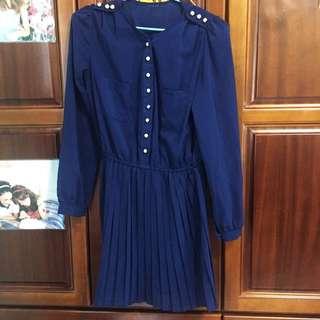 寶藍百摺洋裝