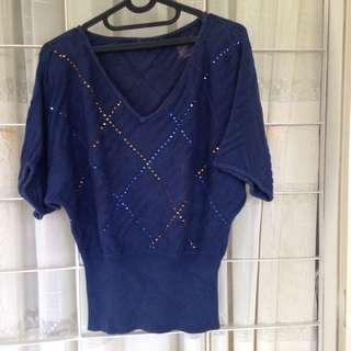 Blus Atasan Payet Knit