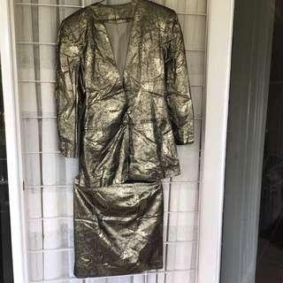 Setelan Blazer Formal Gold Emas Metalik