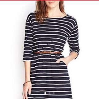 SALE Forever 21 3/4 Sleeves Striped Dress