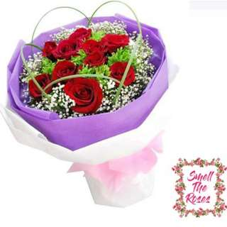 """You take my breath away"" 10 Stalk Red Roses, Baby Breath and Tea leaf Designer Bouquet w/ FREE DELIVERY"