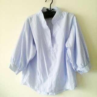 全新含運~韓 燈籠袖泡泡袖藍條紋襯衫材質上衣