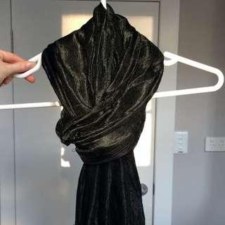 Delicate Black Silk Scarf
