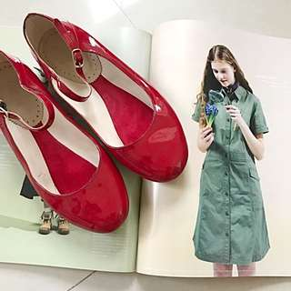 雨天大降價 日本 beams 瑪麗珍 紅鞋 娃娃鞋 紅 37