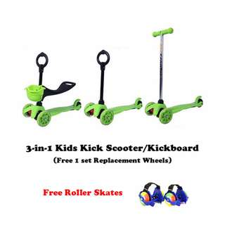 Baby/Kids 3-in-1 Kick Scooter/Glider/Kickboard (Free 3 Scooter Wheels & Roller Skates)