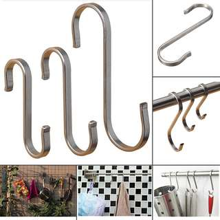 Stainless-Steel-S-Shape-Hooks-Kitchen-Hanger-Rack-Clothes-Holder-Hanging 1-5-10X Stainless-Steel-S-Shape-Hooks-Kitchen-Hanger-Rack-Clothes-Holder-Hanging