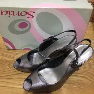 Sonia銀鐵灰高跟涼鞋