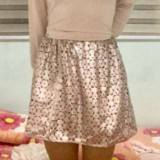 SALE H&M Metallic Pink Floral Skirt