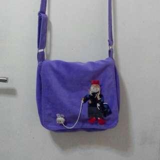 Purple Velvet Sling Bag