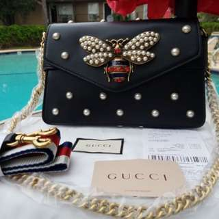 GUCCI DIONYSUS BROADWAY MINI BLACK LEATHER CLUTCH BAG
