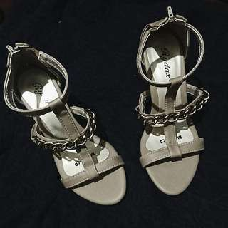 Faux leather Chained Heels (In Beige)