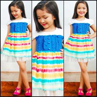 KOREAN INSPIRED SMOCKED DRESS WITH COLORFUL CHIFFON DRESS GIRLS KIDS