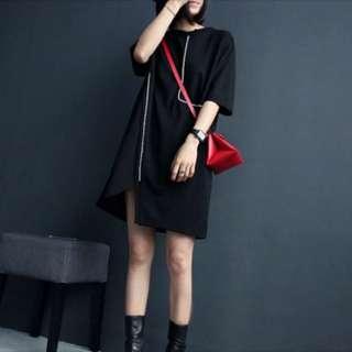 Made In Korea 設計風黑色長版上衣