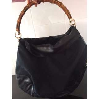 Authentic GUCCI Diana GG Canvas Black with Bamboo Handle Hobo Tote bag