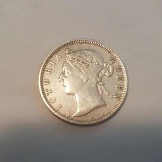 1898 Straits Settlement 20 Cents Coin Queen Victoria