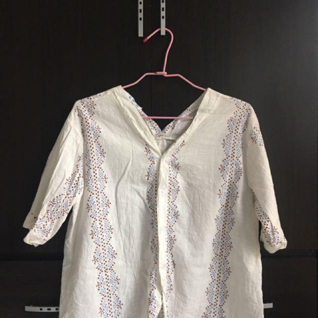 7分袖棉麻襯衫