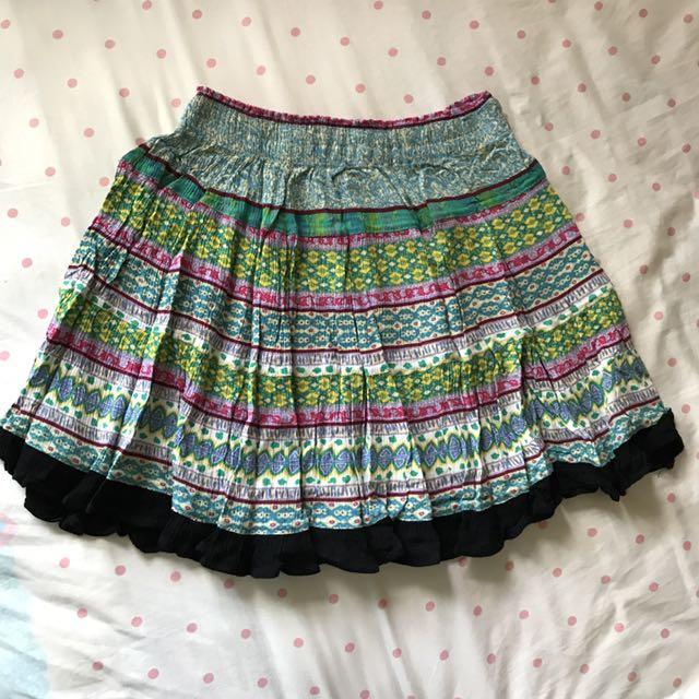 民族風及膝裙