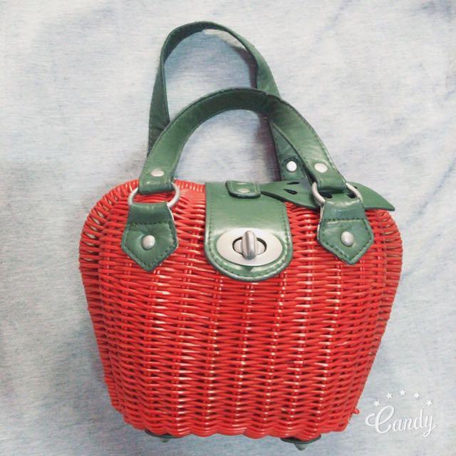 蘋果造型編織野餐包