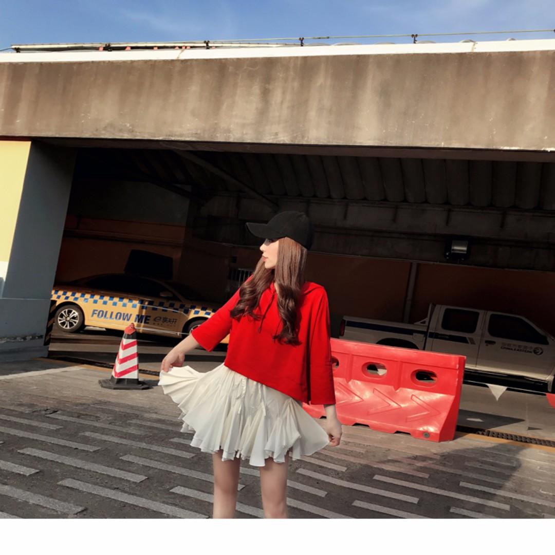 韓版減齡白色少女花瓣裙擺半身裙短裙女