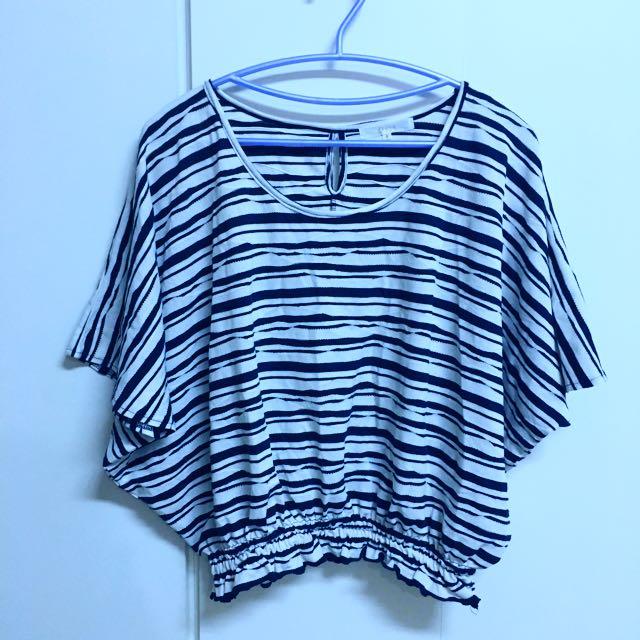 二手👚飛鼠袖藍白條紋縮腰罩衫