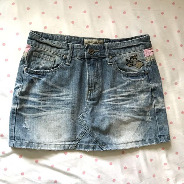 #兩百元短褲 小飛象刺繡牛仔短裙