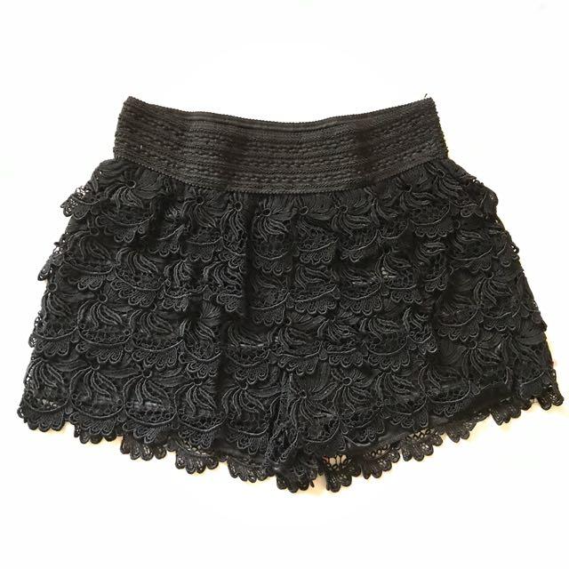 #兩百元短褲 黑蕾絲短褲
