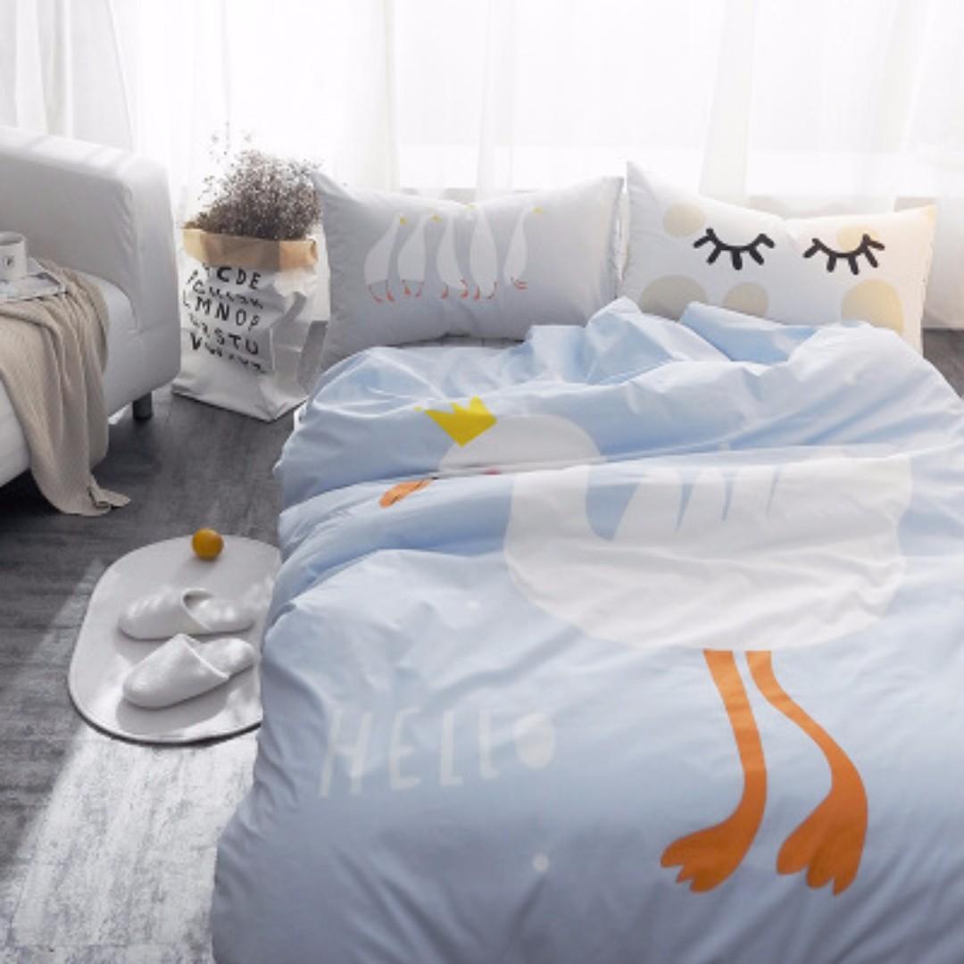 卡通純棉兒童床組 女孩床單 男孩床單 單人純棉床單 卡通被套 天鵝圖案被套