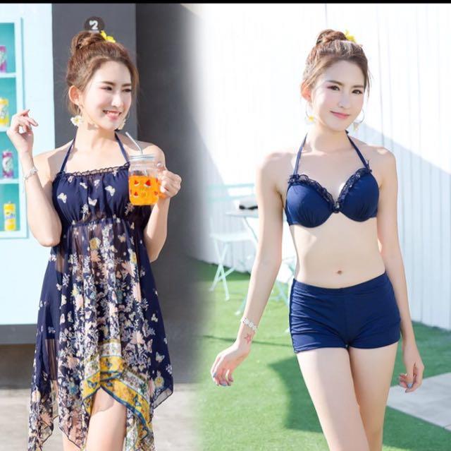 峇里島風 三件式比基尼泳衣泳裝 四角褲泳裝 遮肚泳裝泳衣 白色 藏藍色 溫泉泳裝 兩截式泳衣泳裝