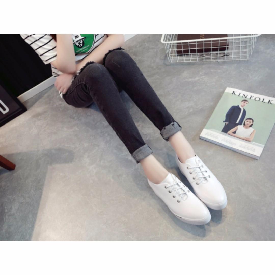 包鞋 內增高 真皮 繫帶 尖頭 小白鞋/休閒鞋 A060529 POCKET@PCK