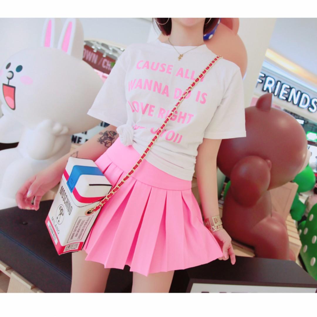 A字高腰百褶裙短夏季純色甜美學院風半身裙