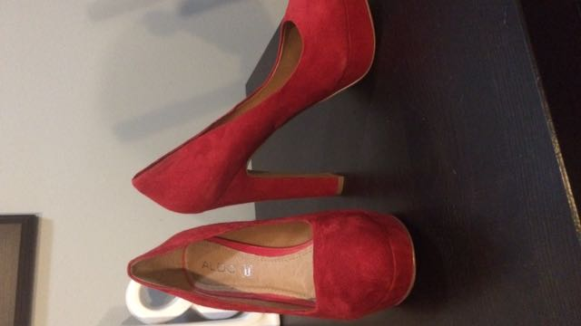 Aldo Red Suede Platform Pumps