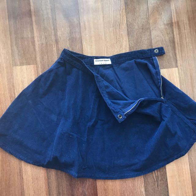 American Apparel Navy Corduroy Mini Circle Skirt Size S