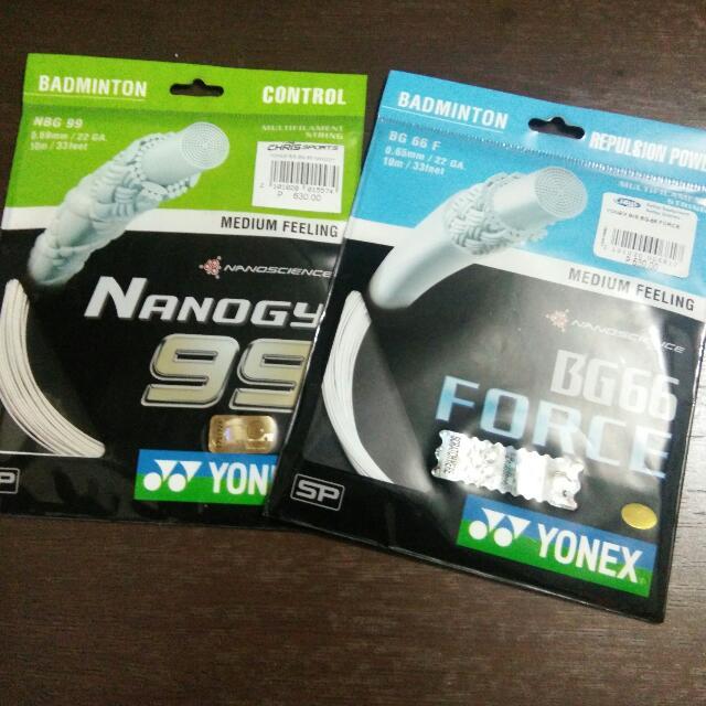 Original Yonex Badminton Strings Yonex BG66 - FORCE & Yonex Nanogy 99