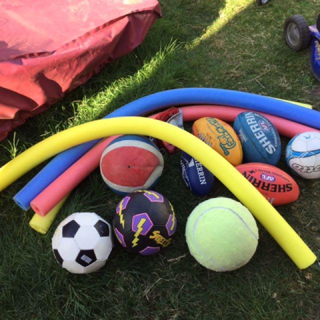 Balls, Cricket Stumps And Bat, Rackets, Floating Foam Noodles