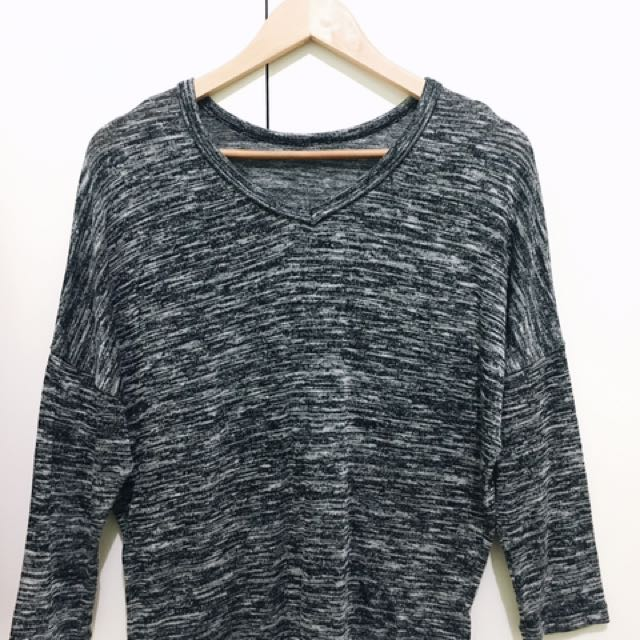 BKK 3/4 Sleeves Knitted Top (Gray)