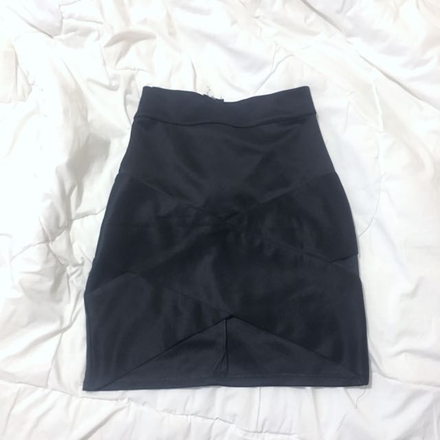 Black Crossover Scuba Skirt