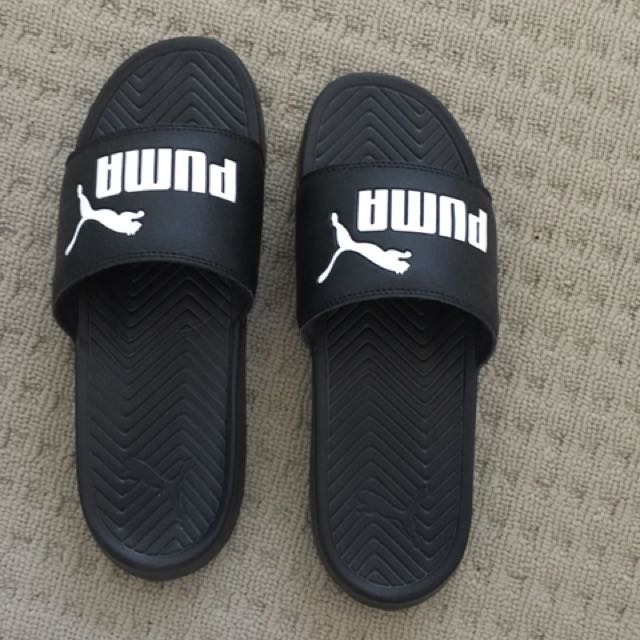 Black Puma Slides Worn Once
