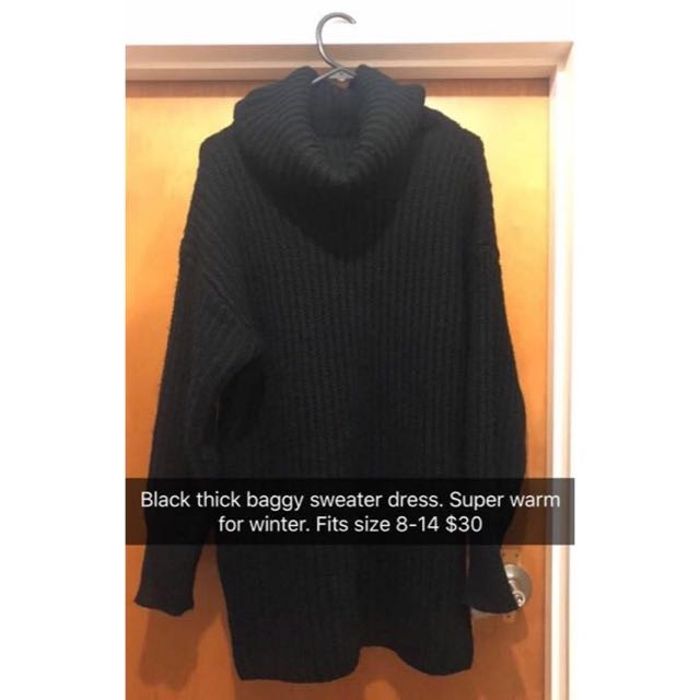 Black Thick Sweater Dress