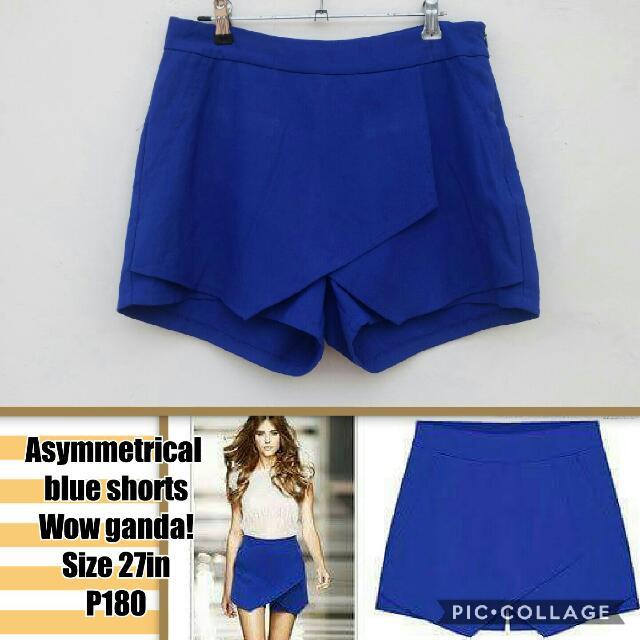Blue Asymmetrical Shorts