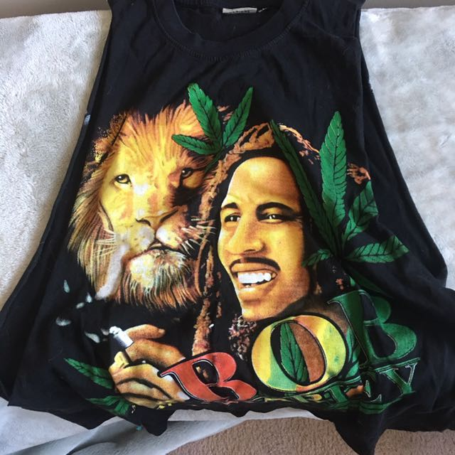 Bob Marley Tank Top Wide Arm Holes Size XL Weed Bud Smoke