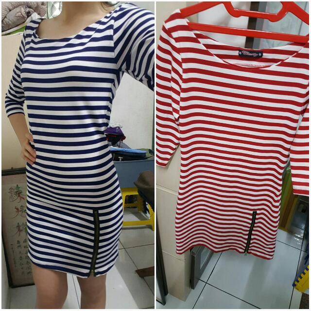 Borong 2pcs Stripe Dress Fit Size M