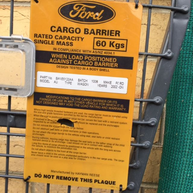 Cargo Barrier For Ford Wagon