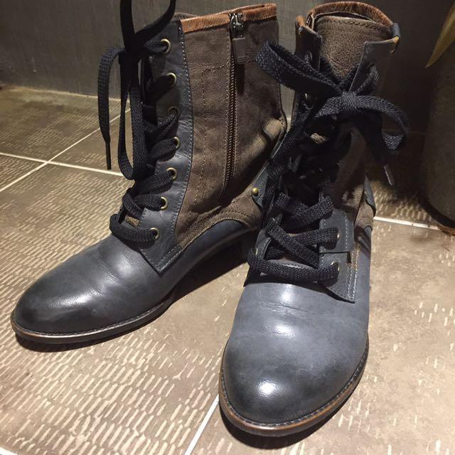 韓貨全新真皮combat Boots 短筒軍靴