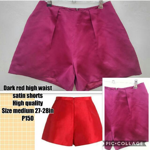 Dark Red High Waist Shorts